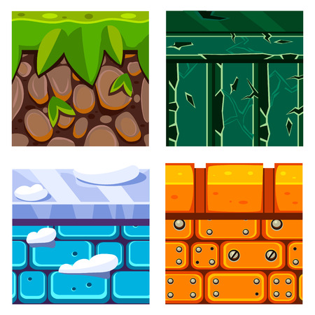 ice brick: Textures for Platformers Icons Vector Illustration Set with Soil, Grass and Bricks Illustration