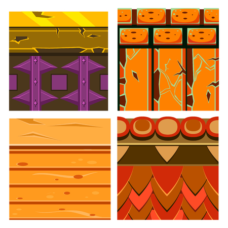 wood textures: Textures for Platformers Icons Vector Illustration Set with Wood and Bricks
