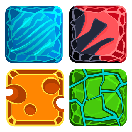 ice brick: Different materials and textures for the game. Gems Vector Illustration set