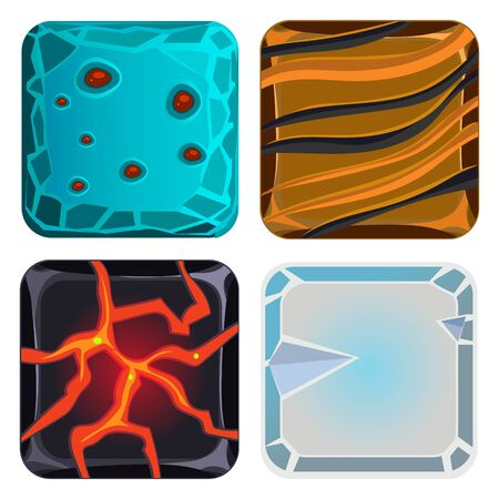 ice brick: Different materials and textures for the game. Icon Vector Illustration set