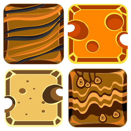 porous brick: Different materials and textures for the game. Vector Illustration Collection Illustration