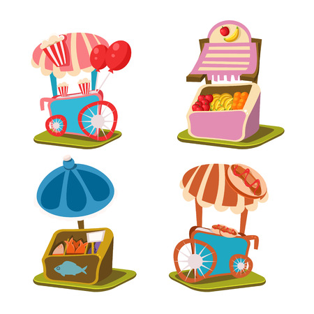 stall: Cart Stall and Takeaway  Vector Illustration Set