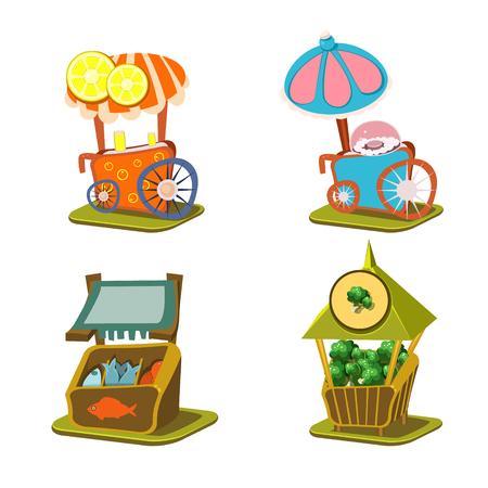 vitrine: Cart Stall and Street Food Vector Illustration Set