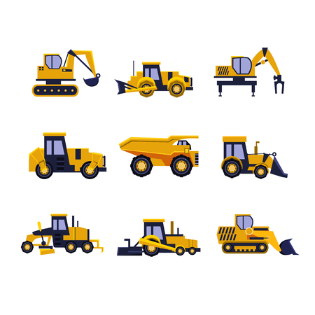 Construction Equipment Road Roller, Excavator, Bulldozer and Tractor. Car Flat Icon Collection Ilustração