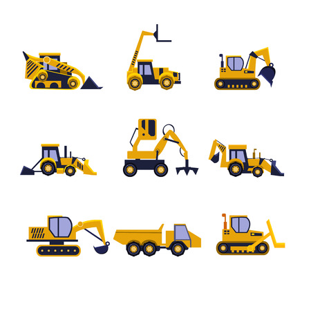 bulldozer: Construction Equipment Road Roller, Excavator, Bulldozer and Tractor. Car Flat Icon Collection Illustration