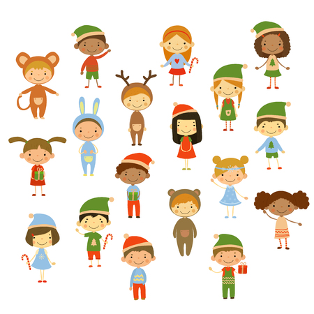Cute kids wearing Christmas costumes vector illustration
