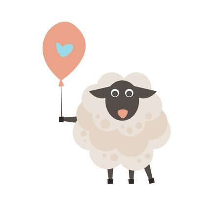 kinky: Cute sheep with a sign for text flat style