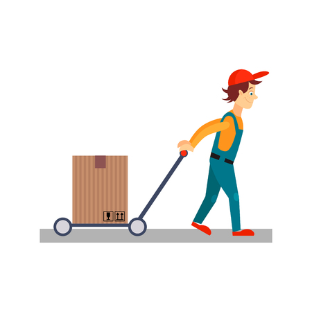 him: Delivery Man with a Cart Behind Him, Flat Vector Illustration Illustration