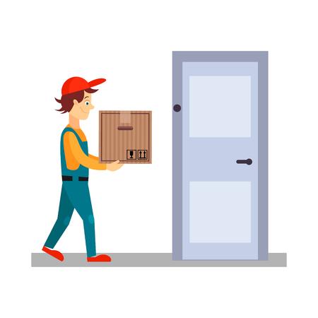 cartero: Hombre de salida en la puerta con una caja, ilustración vectorial Flat