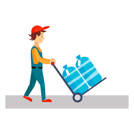 Delivery Man with Water, Flat Vector Illustration