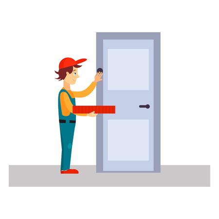 tocar la puerta: Hombre de salida llamando a la puerta, ilustración vectorial Flat