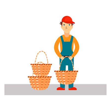 basket: Delivery Man with Baskets, Flat Vector Illustration