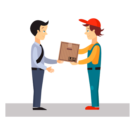package delivery: Delivery Man Gives Package, Flat Vector Illustration