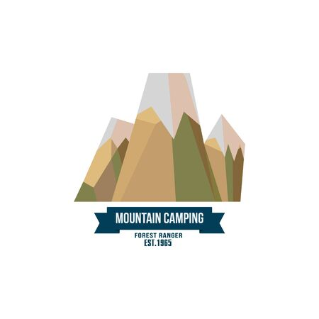 rocky road: Majestic mountain peak vector illustration in flat style Illustration