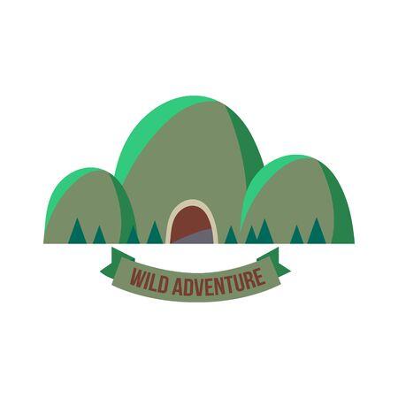 Majestic mountain peak vector illustration in flat style  イラスト・ベクター素材