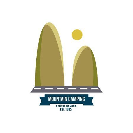 hillock: Majestic mountain peak vector illustration in flat style Illustration