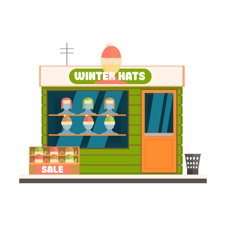 store front: Winter Hats Store Front. Flat Vector Illustration