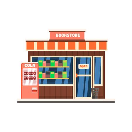 design elements: Bookshop Front window buildings. Flat Vector Illustration Illustration