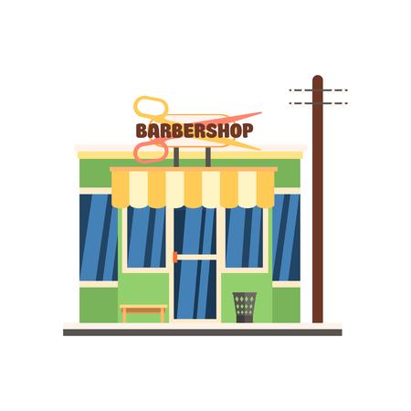 barbershop: Barbershop Front window buildings. Flat Vector Illustration