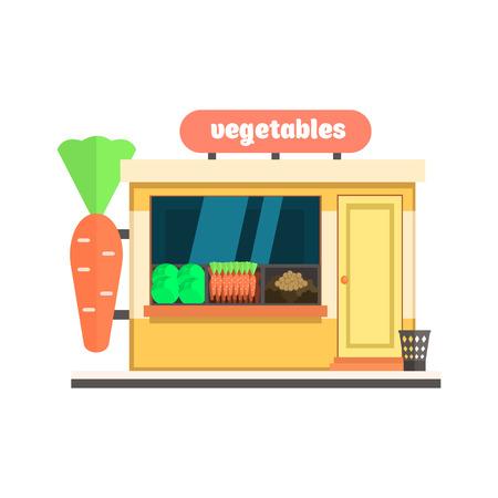 boutique display: Vegetables Shop Front window buildings. Flat Vector Illustration