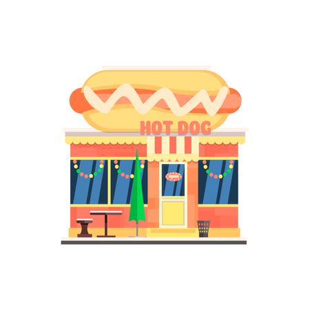 strip a dog: Hot Dog Cafe Front in Christmas. Flat Vector Illustration Illustration