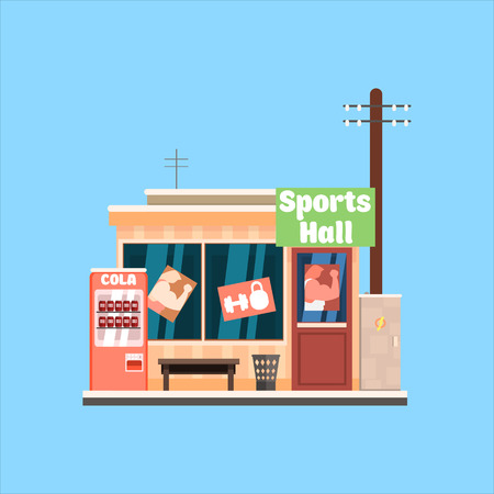 sports hall: Sports Hall Front window buildings. Flat Vector Illustration