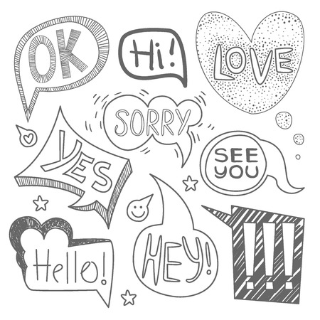 Speech bubble collection. Set of  hand-drawn speech and thought bubbles with sample text. Vector illustration Collection.