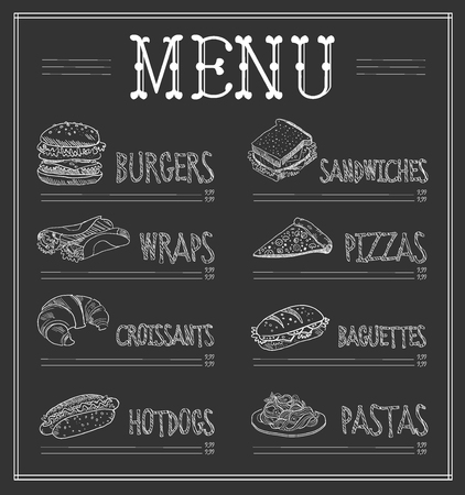 Chalkboard Menu Template. Monochrome Vector Illustration set Illustration