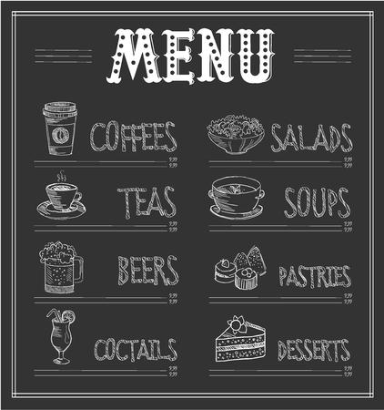 Krijtbord Menusjabloon van eten en drinken. Monochroom Vector Illustration Stock Illustratie