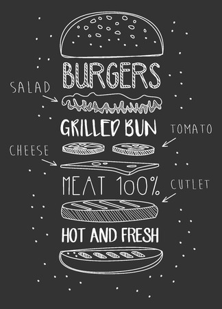 Chalk Drawn Components of Classic Cheeseburger. Vector Illustration Ilustração