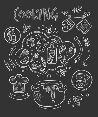 boil: Cooking Vector Illustration, Chalkboard Drawing Set doodle style