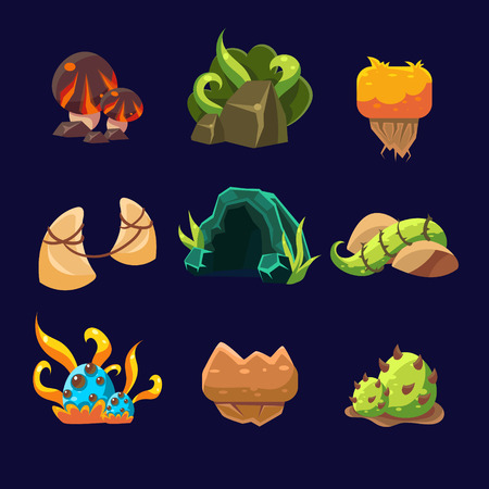 Forest Elements for Game. Vector Illustration Collection Illustration