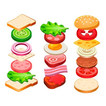 bocadillo: Hamburguesas y sandwich ingredientes indicados. Ilustración del vector Vectores