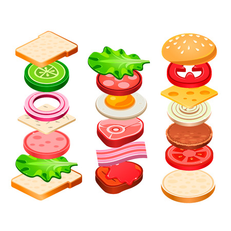 hamburger: Sandwich and Hamburger Ingredients Set. Vector Illustration Illustration