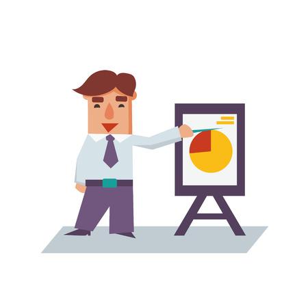 financial advisors: Business man with flip chart cartoon character flat vector illustration