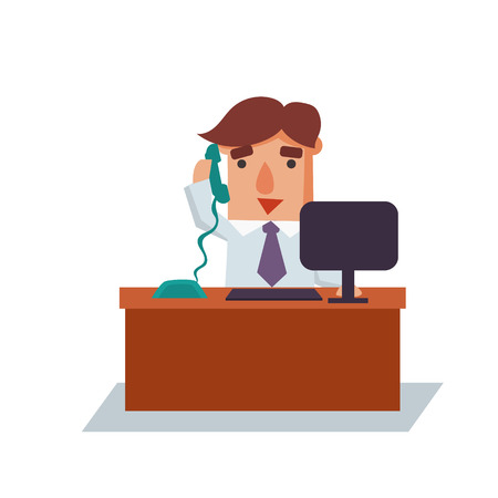 financial advisors: Business man on phone cartoon character flat vector illustration Illustration
