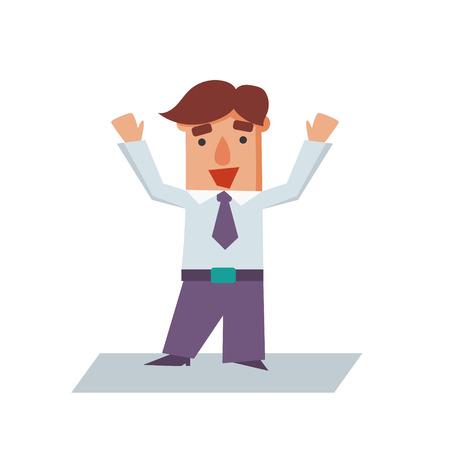 raise the thumb: Happy Business man cartoon character flat vector illustration