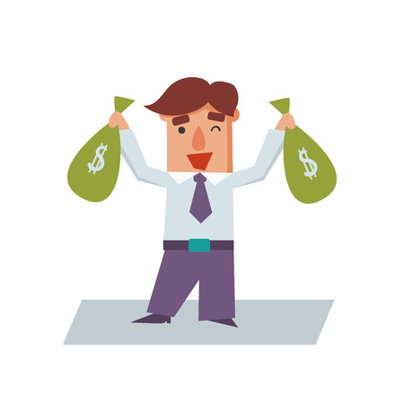 economist: Business man with bags of money cartoon character flat vector illustration