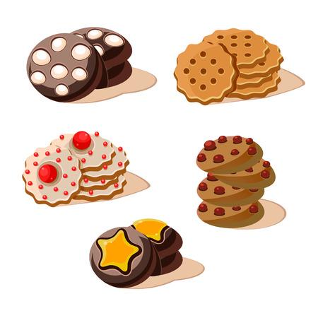 Tasty Cookies. Set of cartoon vector food icons.