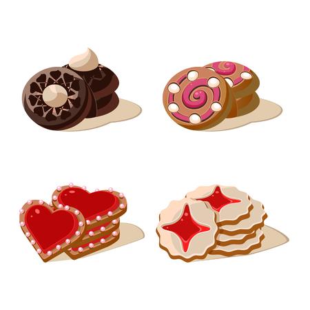 Sweet Cookies. Set of cartoon vector food icons. Illustration