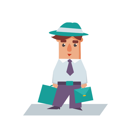 financial advisors: Business man with bags cartoon character flat vector illustration