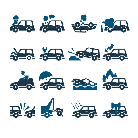 swerving: Car Insurance Vector Icons set Collection, flat style