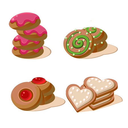 Delicious Cookies. Set of cartoon vector food icons.