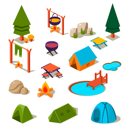 chowder: Isometric 3d forest camping elements for landscape design vector illustration