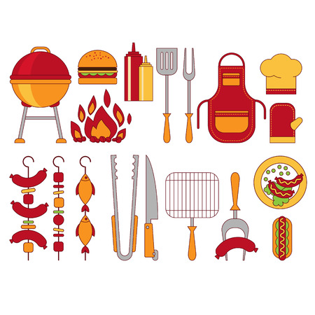 coals: Barbecue Grill Icons Vector Illustratio Flat Style