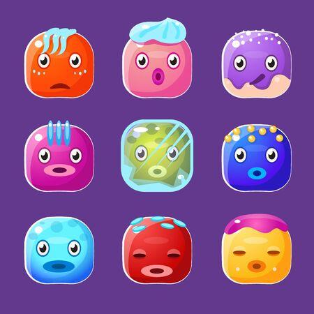 smile cartoon: Funny colorful square faces set, cute emotional  cartoon vector avatars