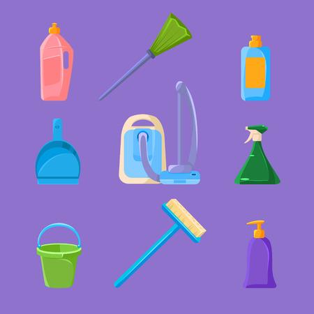 dishwashing liquid: Cleaning and Housework Icons Vector Illustration Set