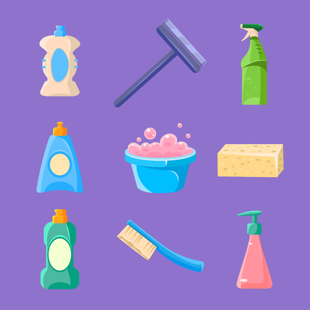 dust pan: Cleaning and Housework Icons Vector Illustration Collection Illustration
