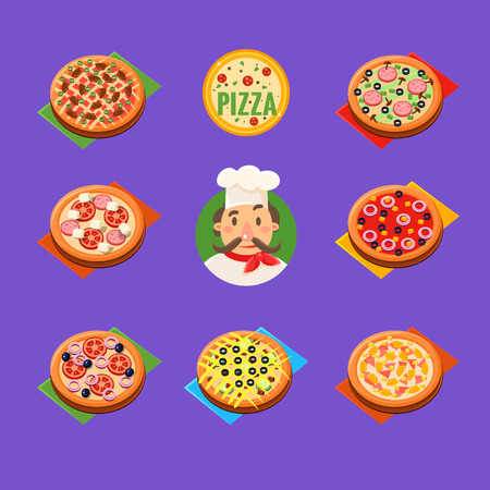 pizzeria label: Pizza  Icons and label for Italian pizzeria Vector Set Vector Illustration
