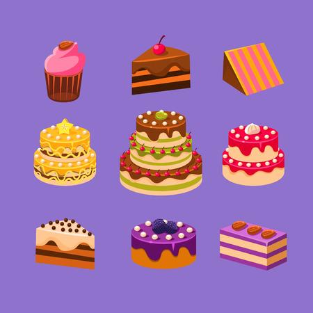 trozo de pastel: Cakes and Dessert delicious sweets Vector Illustration Set